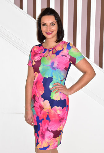 TIA Floral Print Dress With 3 Cut Outs