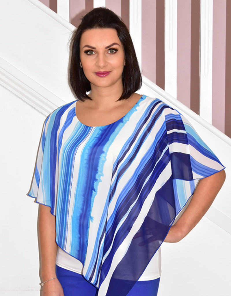 Michael Tyler Blue/Ivory Stripe With Cami Top