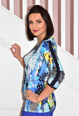 Dolcezza Multi Pattern V Neck Top With Ruched Sleeves