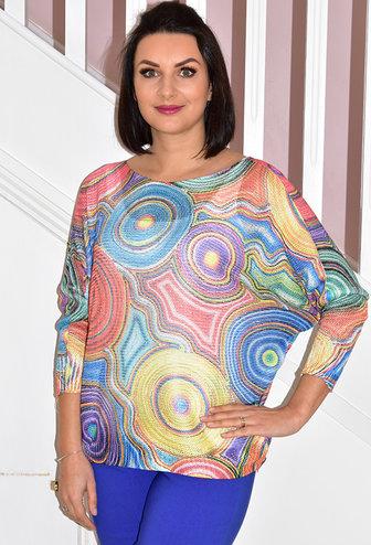 italy moda Italy Moda Multi Coloured Pattern Knitted Jumper