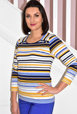 Kalisson Multi Coloured Stripe Top With Buttons