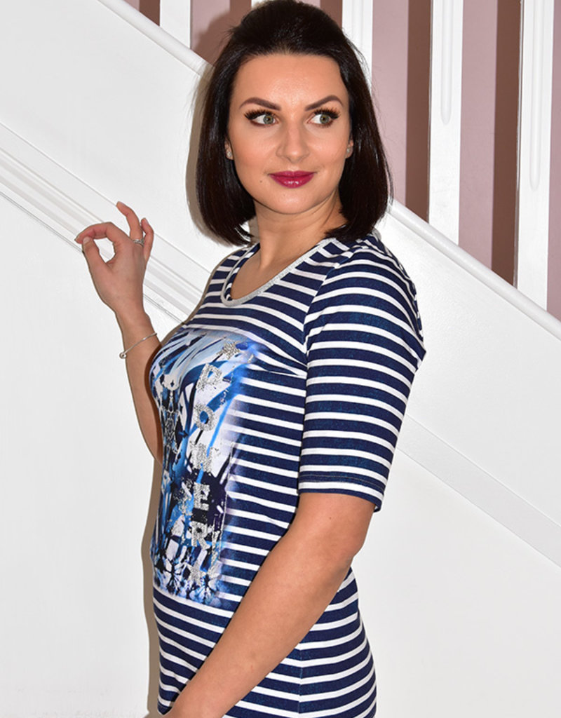 JUST WHITE ''The Moment'' Short Sleeve Navy/White Stripe Top