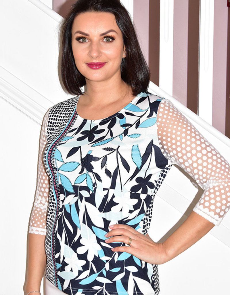 LIBRA Turquoise Multi Print Top With Sheer Sleeve