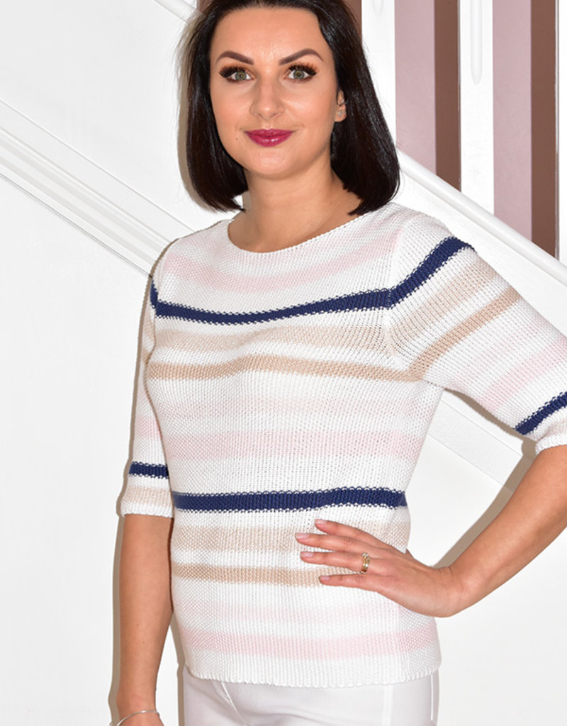 MARBLE Stripe Knitted Multi Coloured/Pink Jumper