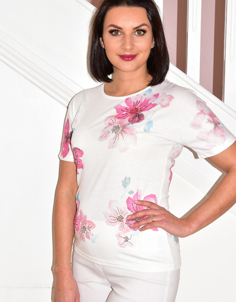 LIBRA Pink/White Floral Short Sleeve T-Shirt