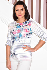 LIBRA Multi Coloured Striped Top With Floral Pattern