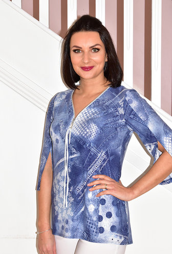 Modes Crystal Blue Denim Print  Tunic With Zip