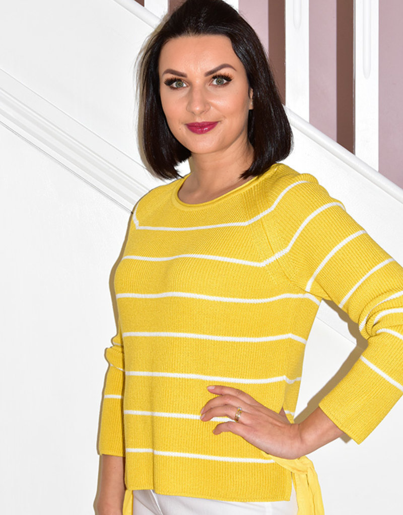 BETTY BARCLAY Mustard Jumper To White Stripe With Tie Detail