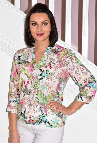 RABE Floral Blouse With Elasticated Waist