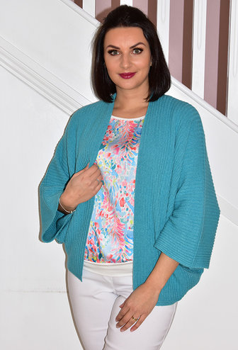 DECOLLAGE Aqua Ribbed Short Cardigan