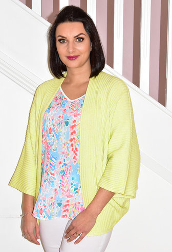 DECOLLAGE Pistachio Ribbed Short Cardigan