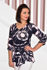 MARBLE Multi Coloured Print Short Sleeve Top With 3/4 Sleeves