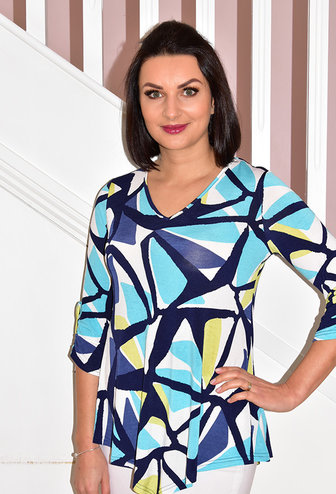 MARBLE Block Pattern Tunic With Ruched Sleeves