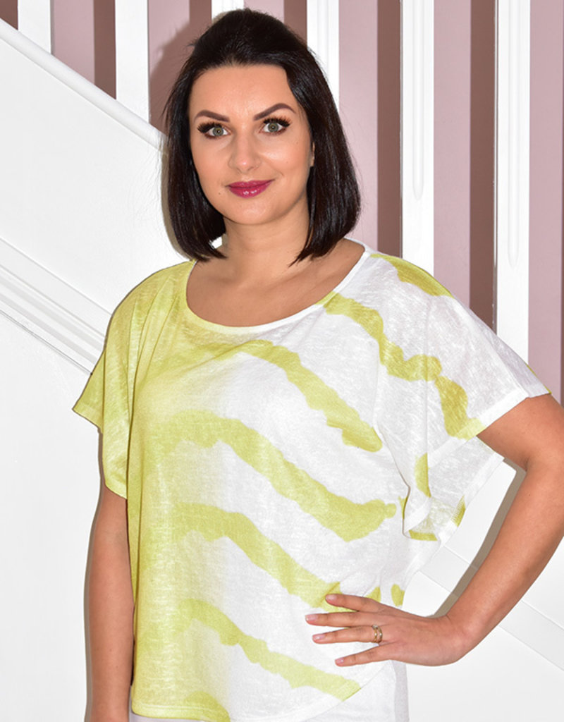 MARBLE Lime Green & White Top With Vest Top