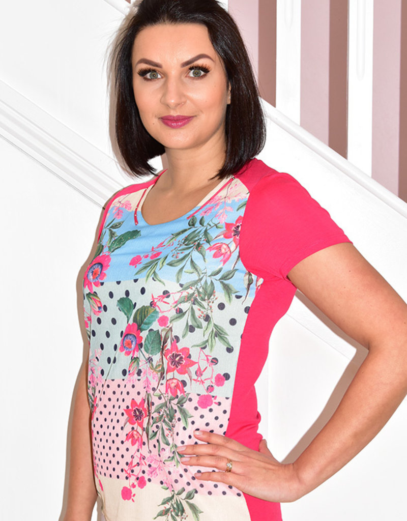 Kalisson Short Sleeve Top With Floral Pattern & Spots