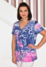 Modes Crystal Pink/Blue Pattern Top With Frill Detail