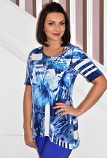 Modes Crystal Blue/White Top With Stripes & Floral Detail