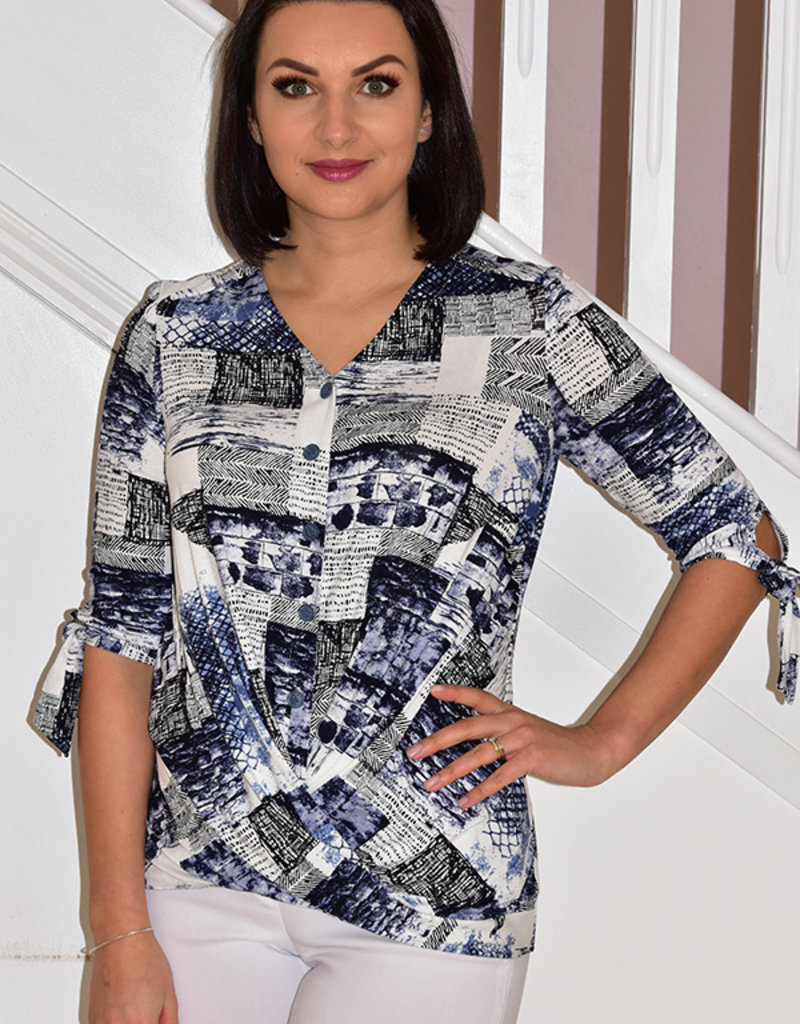 Modes Crystal Denim Colour Multi Pattern Top With Buttons