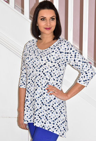 Modes Crystal White Tunic Top With Blue Dots
