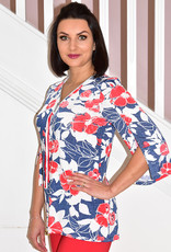 Modes Crystal Denim & Red Floral Print Tunic With Zip