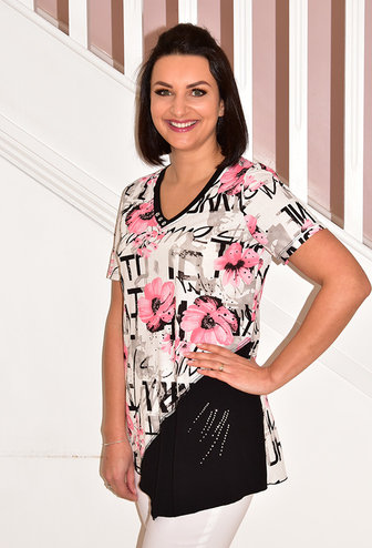Modes Crystal Floral Print Pink/Black Top With Button & Stud Detail