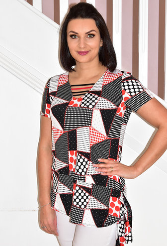 Modes Crystal Red/Black Dotted Top With Side Tie Detail
