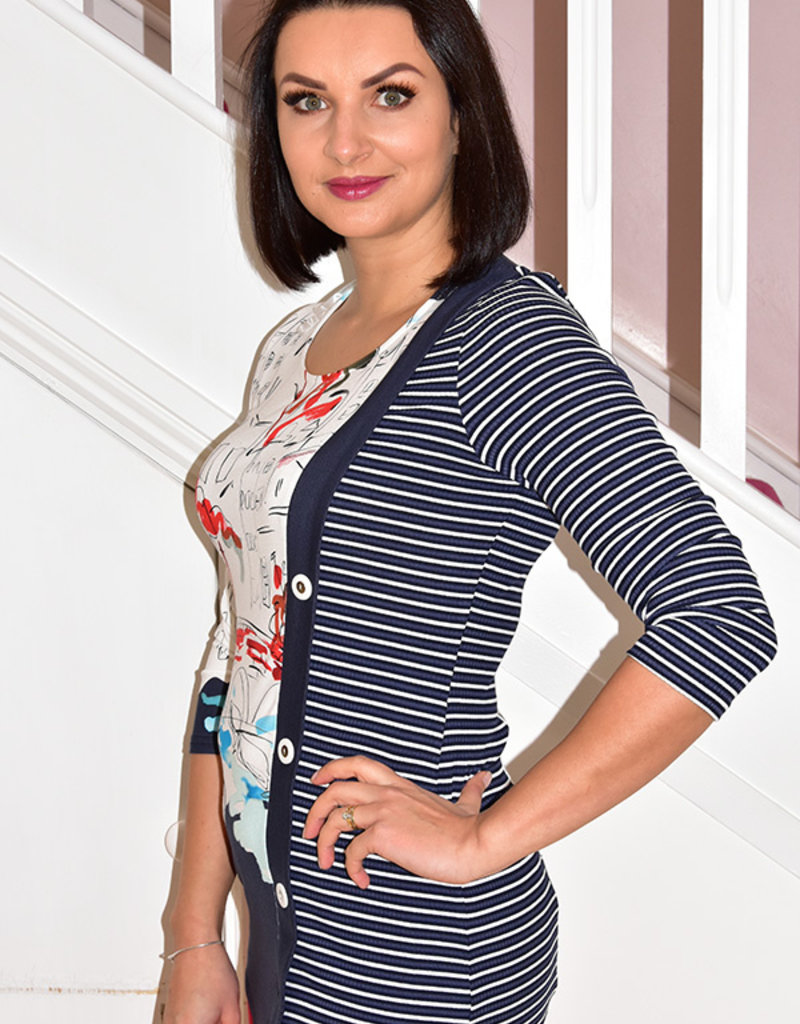 Michael Tyler Half Stripe Sleeve Top With 3 Buttons