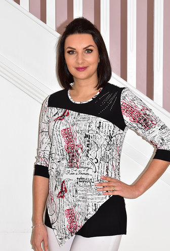 Modes Crystal Black/White Writing Print Top With Diamond Studded Detail