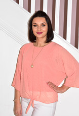 marina fashion M.R Top Coral With Tie Detail & Necklace