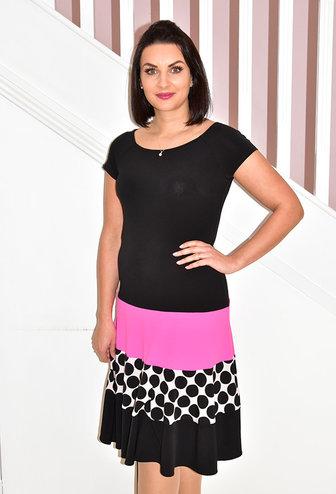 TIA Short Sleeve Dress With Pink Bottom & Dots