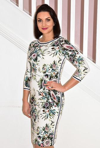 ARGGIDO Floral Printed Maxi Dress With Navy Stripe Panel