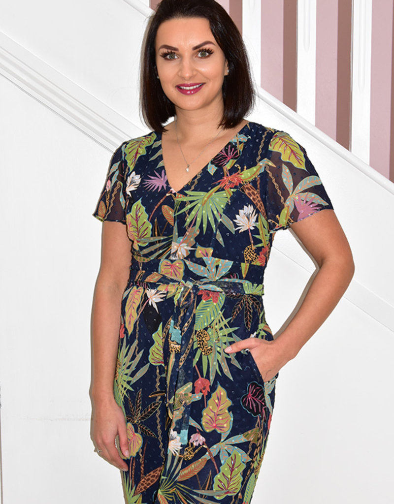 ARGGIDO Leaf Pattern Jumpsuit With Tie Belt