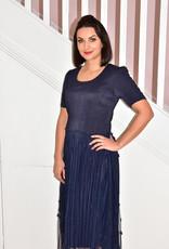Leo & Ugo Navy Blue Dress With Floral Detail Skirt & Detail on Sleeve