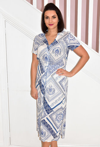 Leo & Ugo Blue & White Maxi Patterned Dress With Tie