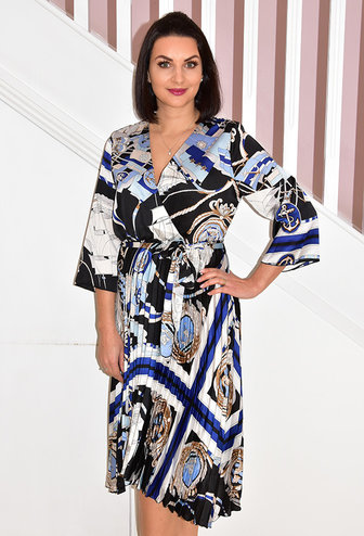 SAGE Silk Feeling Multi Print Dress
