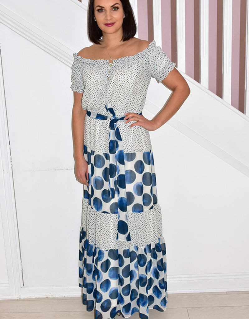 ARGGIDO Dotted Maxi Dress With Tie Belt