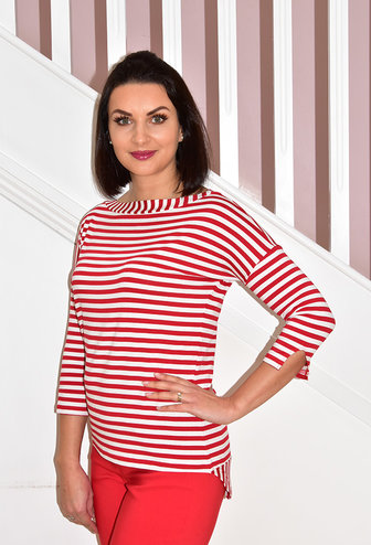 PERUZZI Red/White Stripe T-Shirt With Cut Back