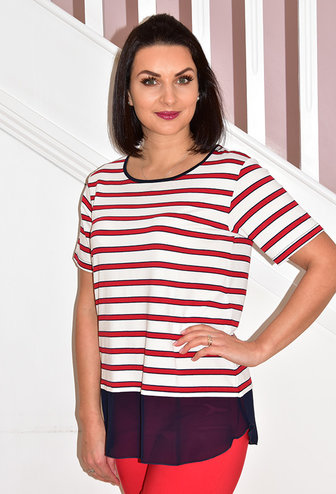 BELLENISA Stripe Short Sleeve Top With Navy Chiffon & Buttons on Back