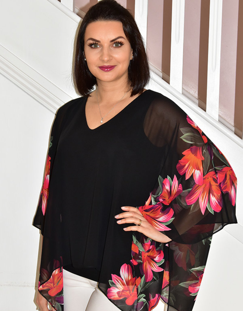 JOSEPH RIBKOFF Top With Floral Flow Sleeve