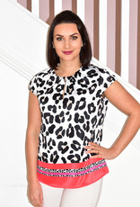 R.O.B Leopard Print Short Sleeve Top With Red Stripes