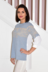 Elisa Cavaletti Blue/White Jumper  With Gold Design