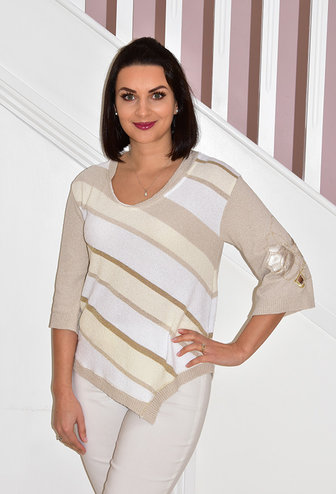 Elisa Cavaletti Stripe Gold Knitted Jumper With Arm Detail