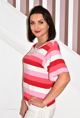 BELLENISA 3/4 Sleeve Stripe Top With Tie Side