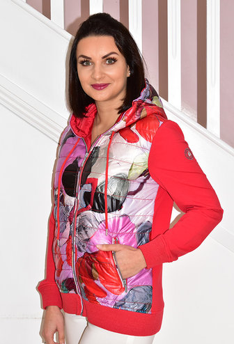 Dolcezza Multi Print Jacket With Hood & Plain Sleeve