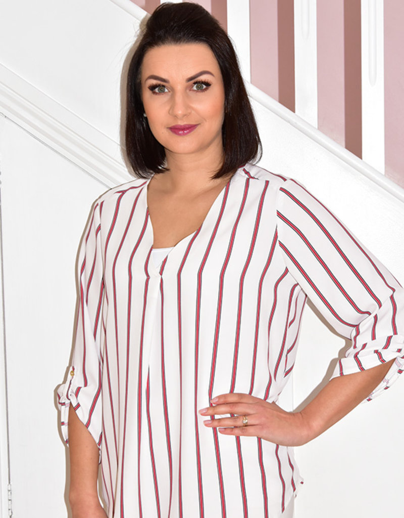 CLP Pin Stripe Blouse With Fold Up Sleeves