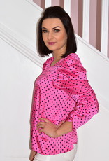 CLP Pink Blouse With Black Polka Dots & Ruched Sleeve