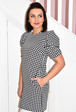 CLP Black & White Checked Dress With Puff Sleeves