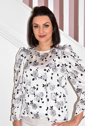 CLP Rose Floral Print Top With Shoulder Pads