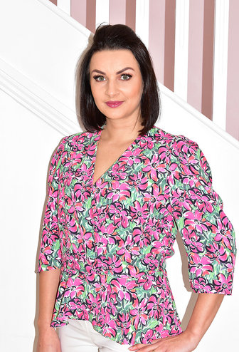 CLP Floral Print Cross Over Top