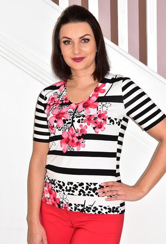 Frank Walder Stripe Sleeve Top With Animal & Floral Print